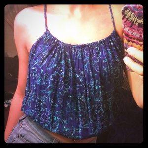 Floral Print Lace Back Crop Top